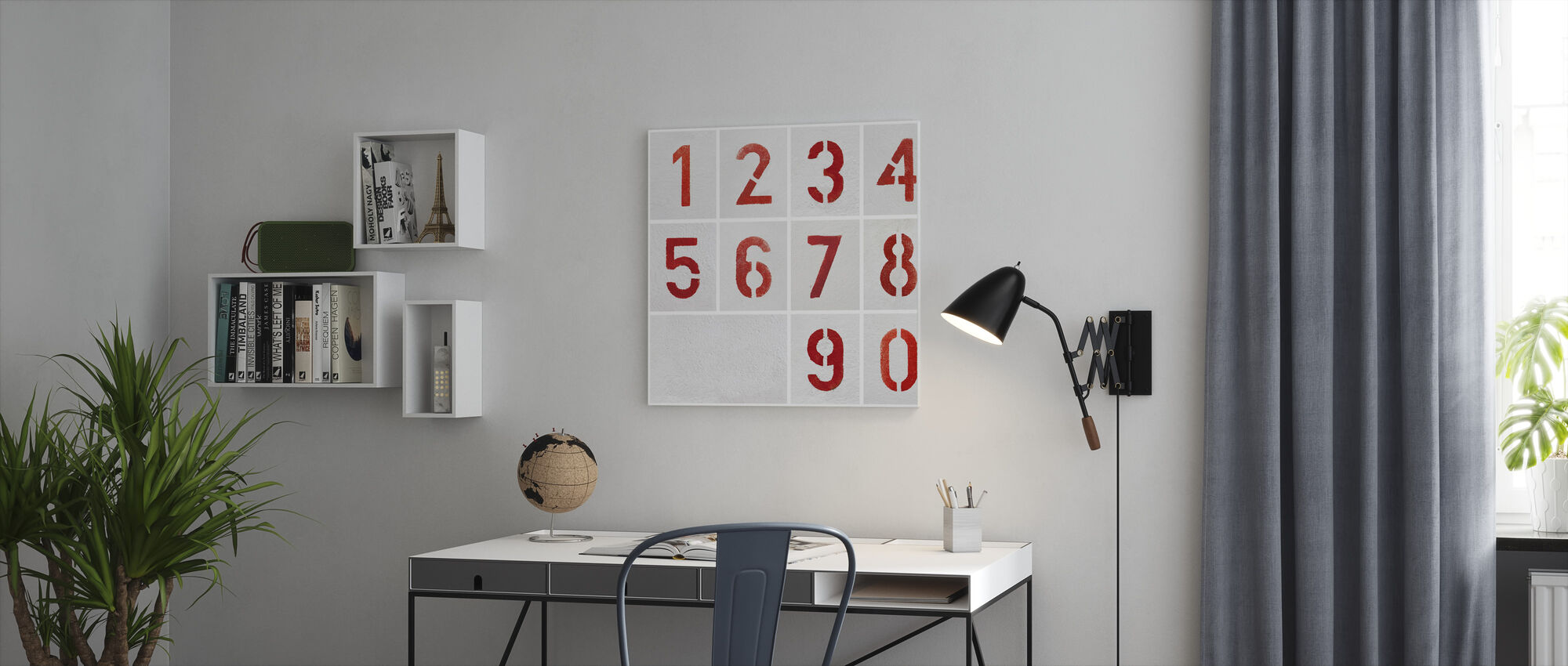 Numbers Painted Stencils - Canvas print - Office