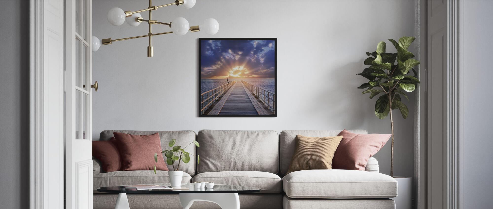 Backlight Bridge - Framed print - Living Room