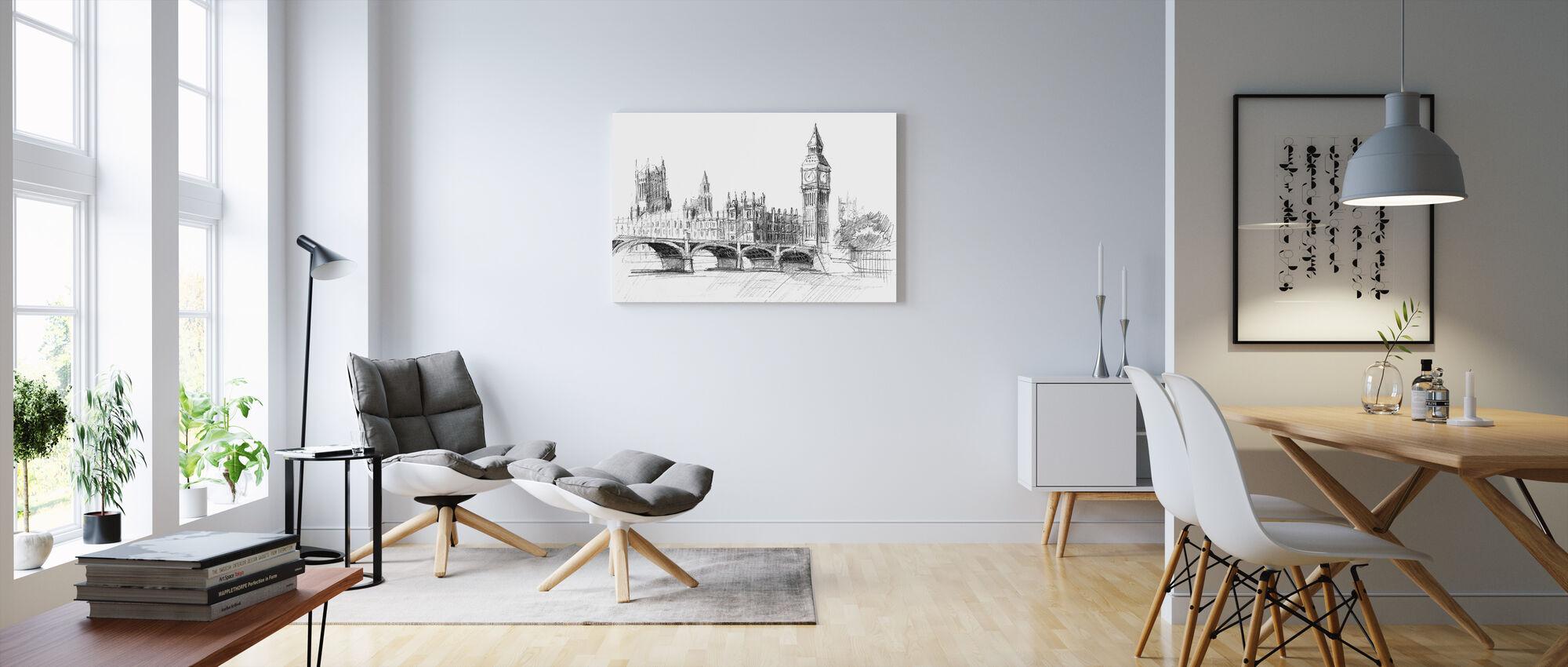 Big Ben in Black Lead - Canvas print - Living Room