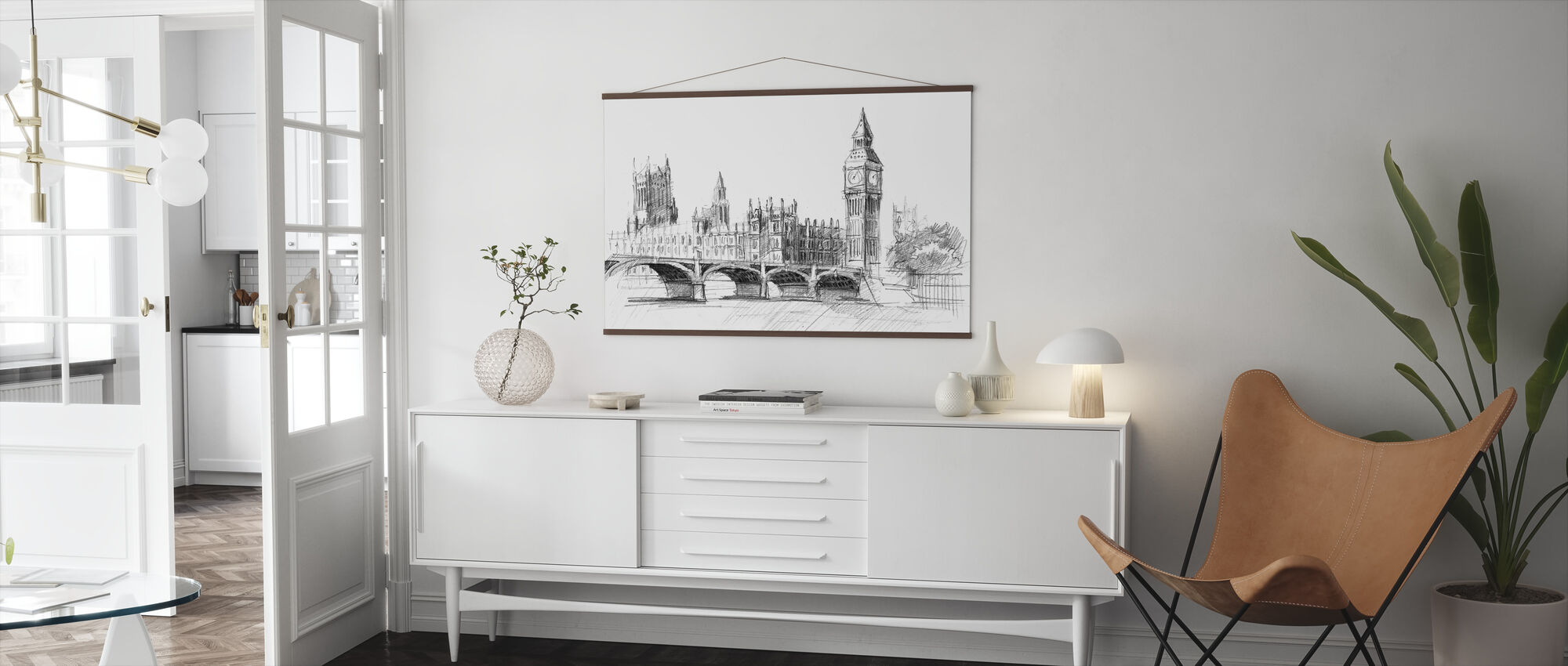 Big Ben in Black Lead - Poster - Living Room