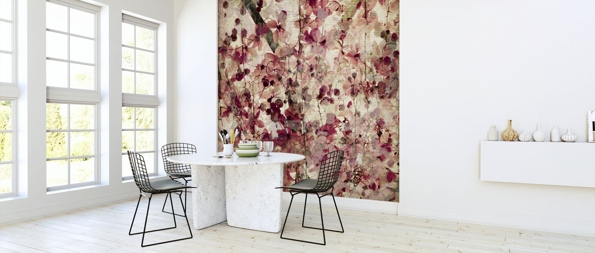 Blossom Print on Ribbed Bamboo - Wallpaper - Kitchen