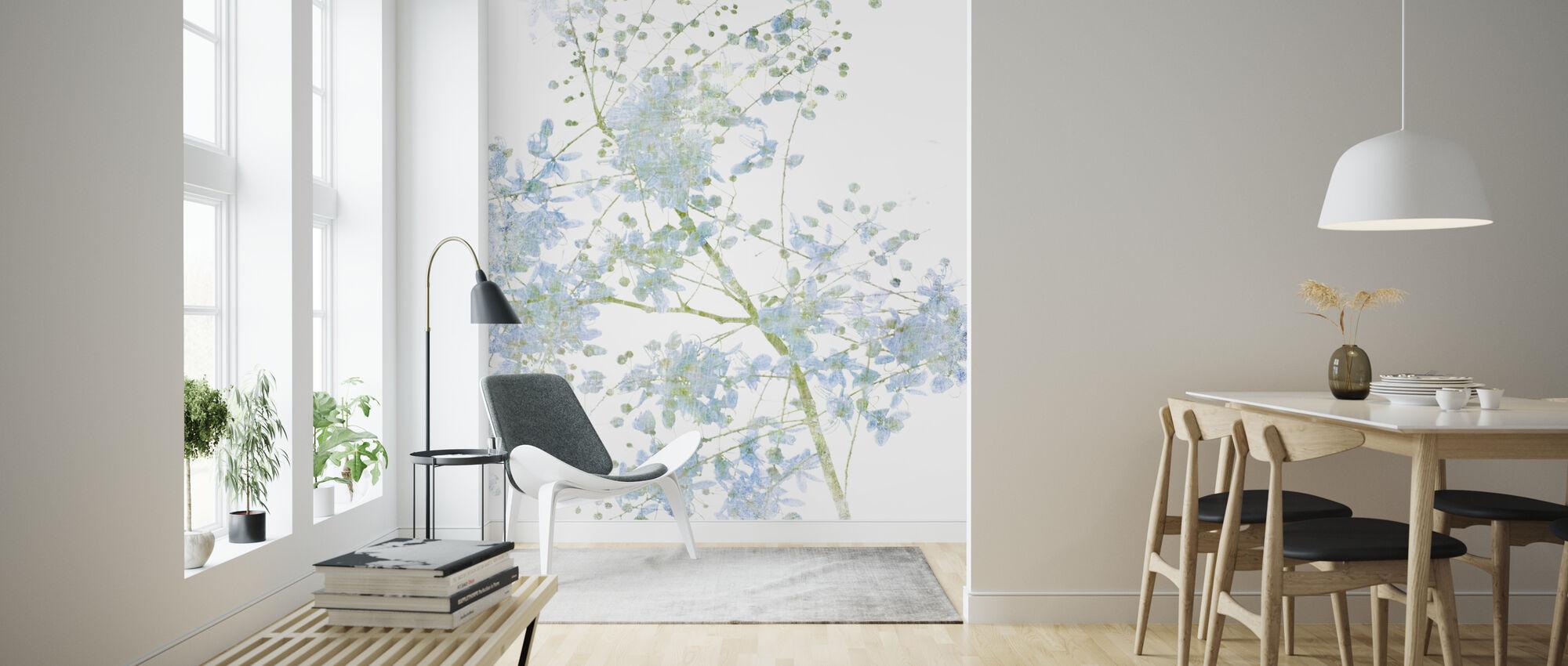 Blå Blomma Blomma - Tapet - Vardagsrum