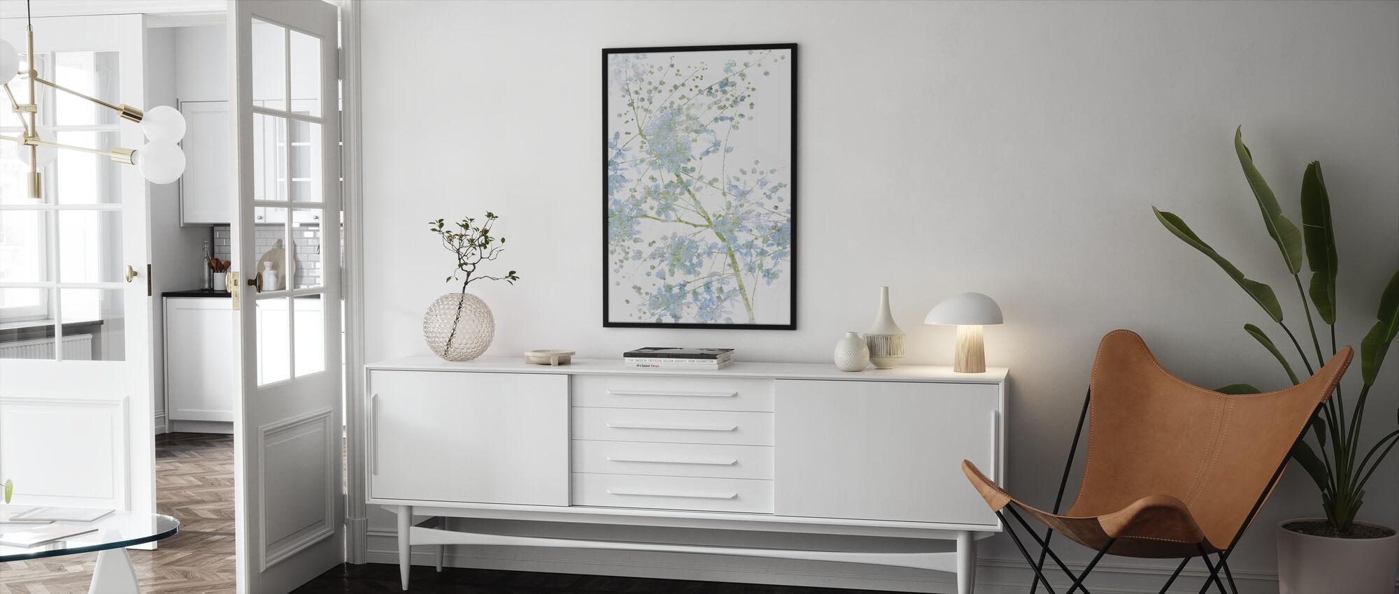 Blue Flower Blossom - Framed print - Living Room