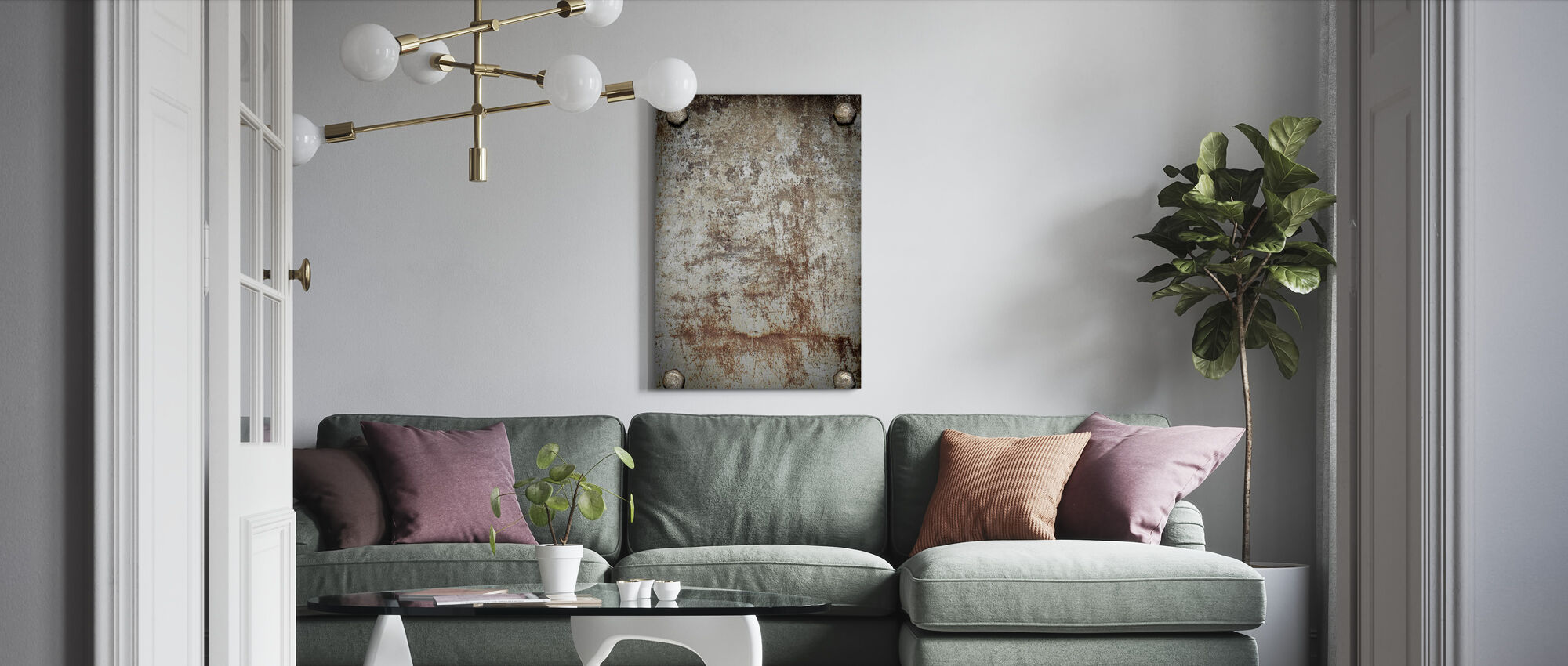 Bolted Steel Plate - Canvas print - Living Room