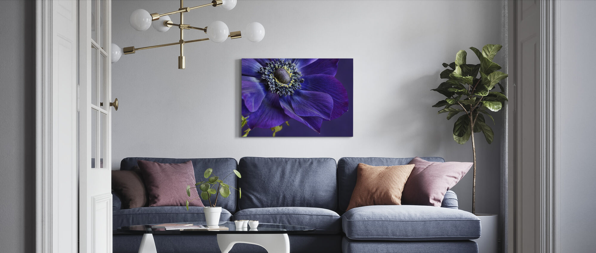 Indigo Anemone - Canvas print - Living Room