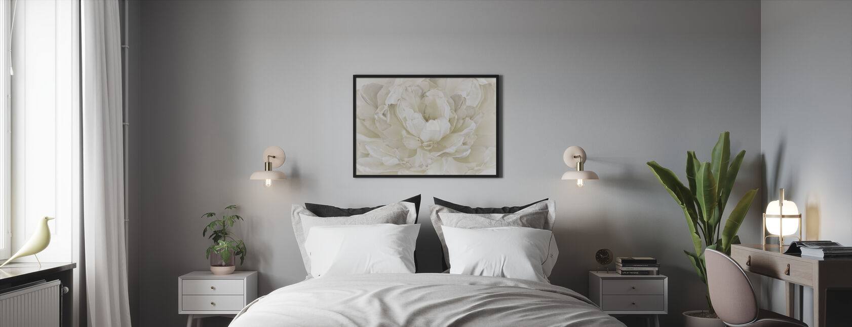 Norsunluu valkoinen kaksinkertainen tulppaani - Kehystetty kuva - Makuuhuone