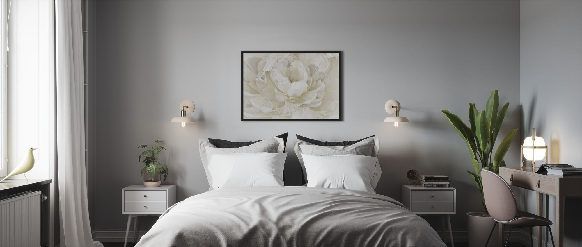 Ivory White Double Tulip - Framed print - Bedroom