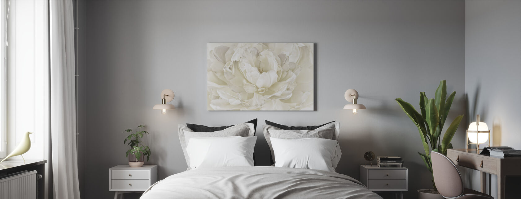 Ivory White Double Tulip - Canvas print - Bedroom