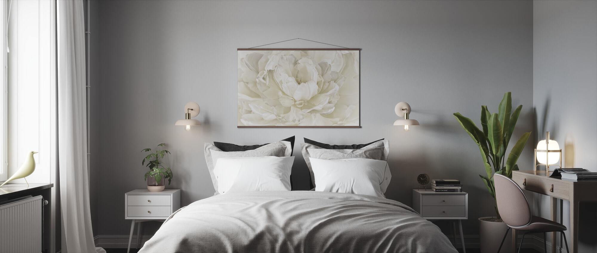Ivory White Double Tulip - Poster - Bedroom