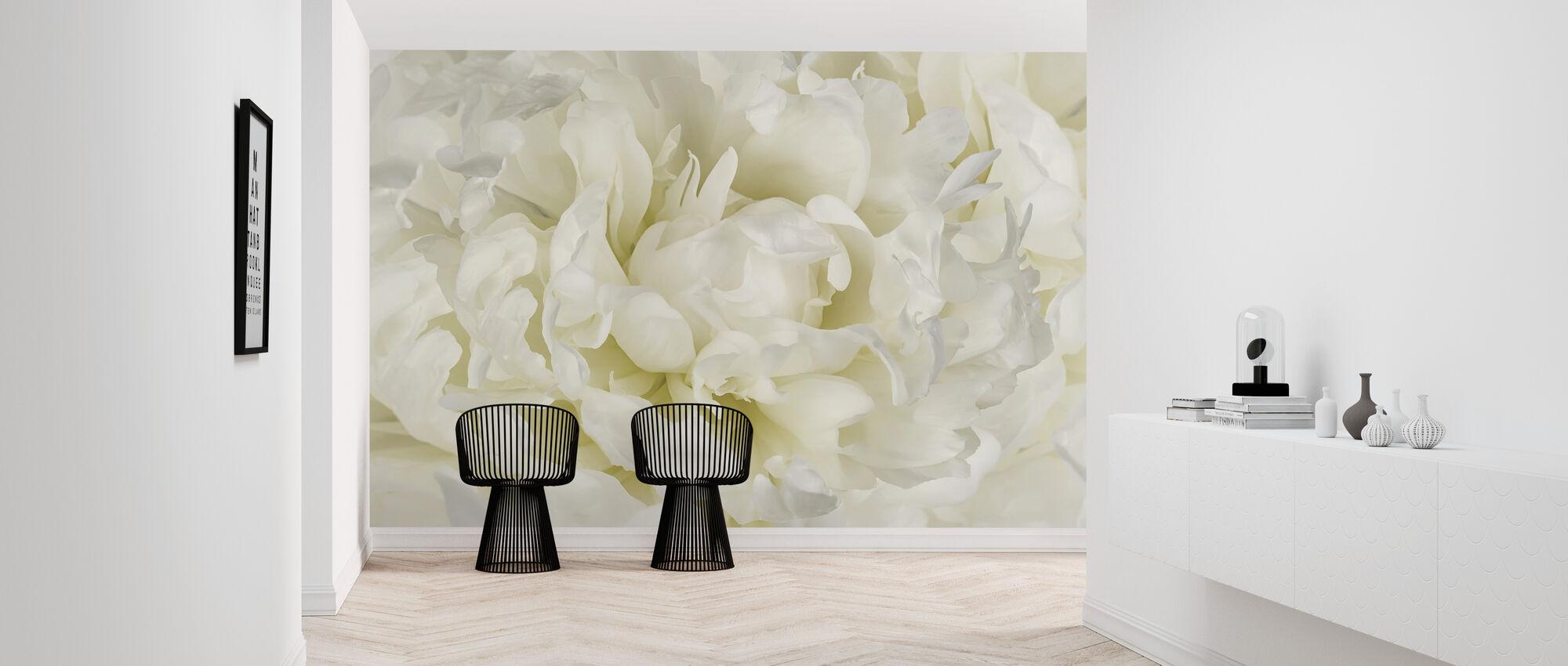 Ivory White Peony - Wallpaper - Hallway