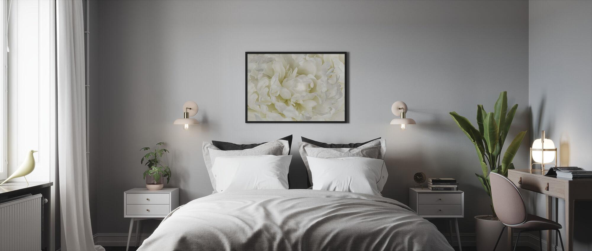Norsunluu valkoinen pioni - Kehystetty kuva - Makuuhuone