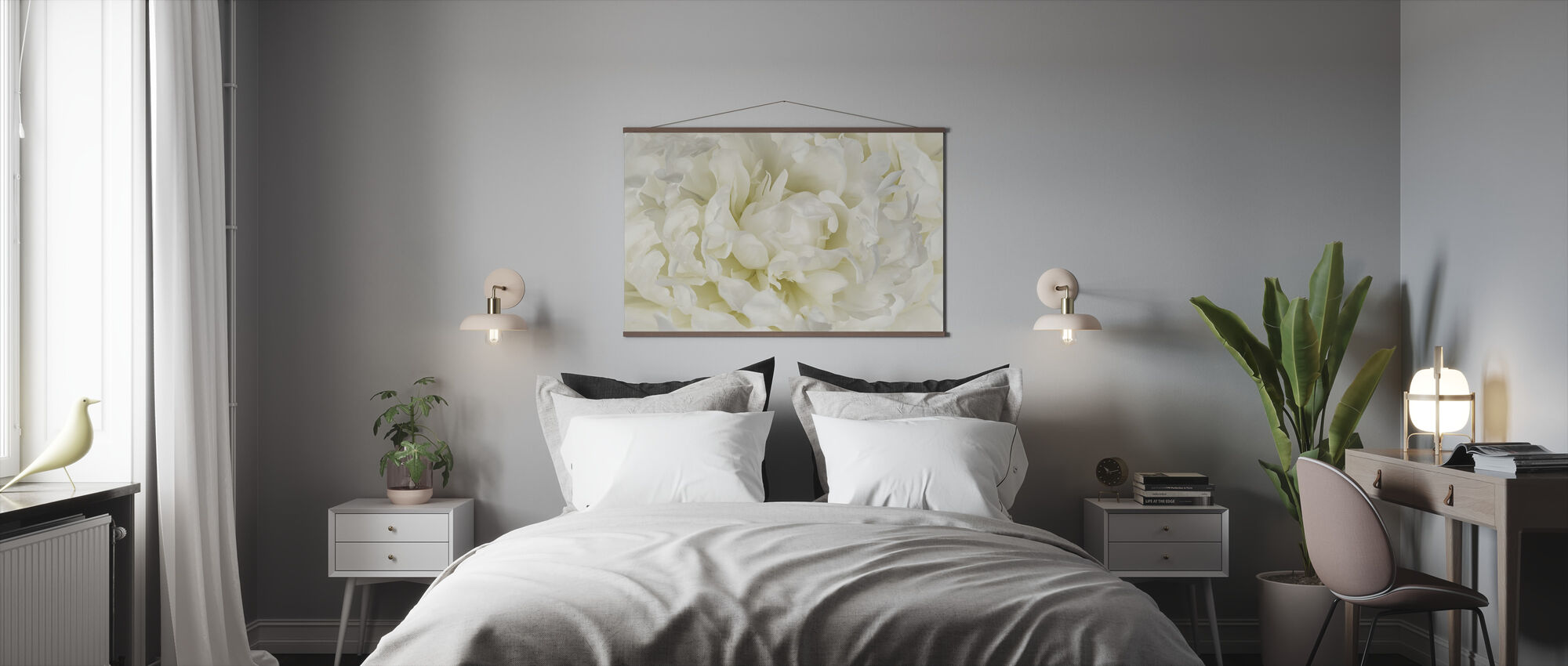 Ivory White Peony - Poster - Bedroom