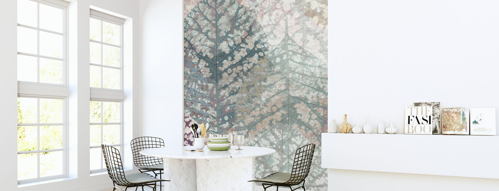 Pastel Leaf Pattern - Wallpaper - Kitchen