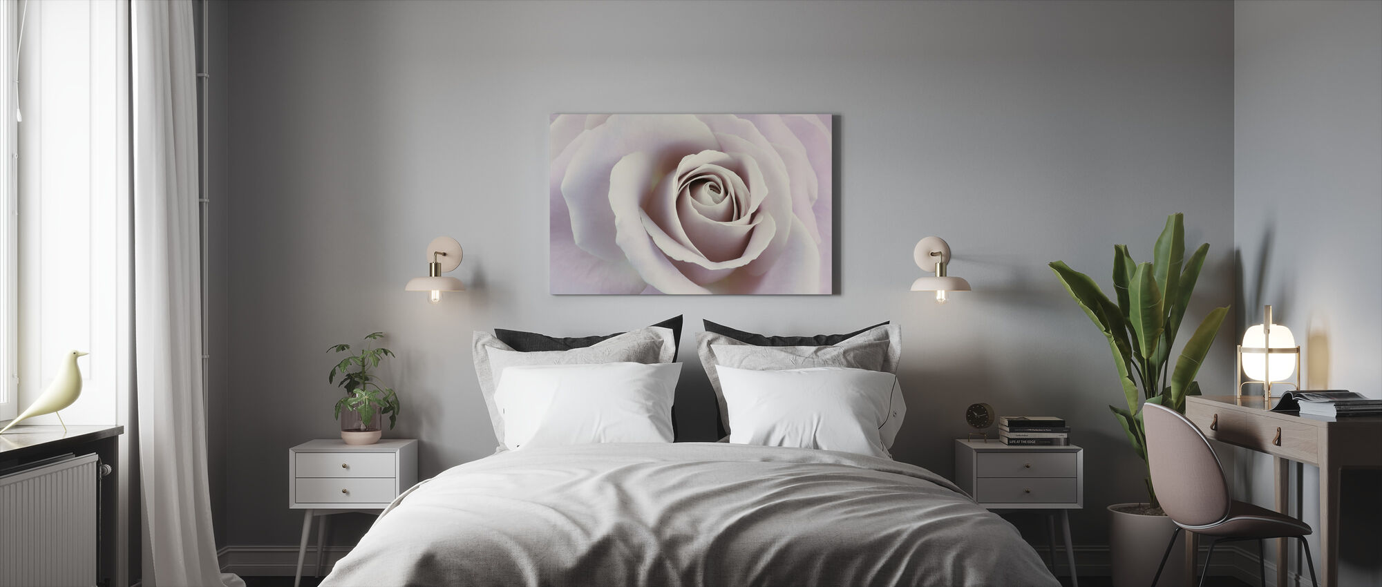 Soft Rose in Cool Shades - Canvas print - Bedroom