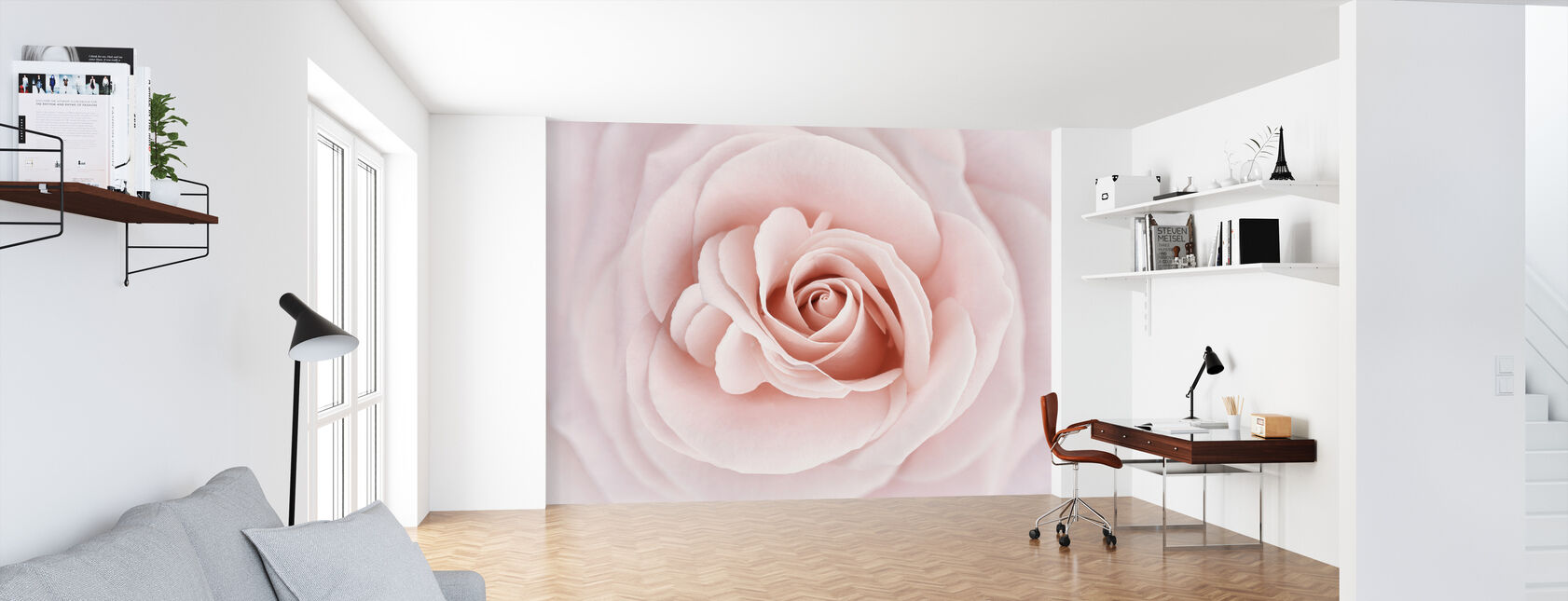 Soft Rose in Pfirsichrosa Farbtönen - Tapete - Büro