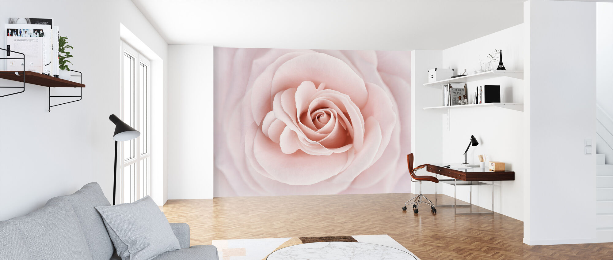 Soft Rose in Peach Pink Shades - Wallpaper - Office