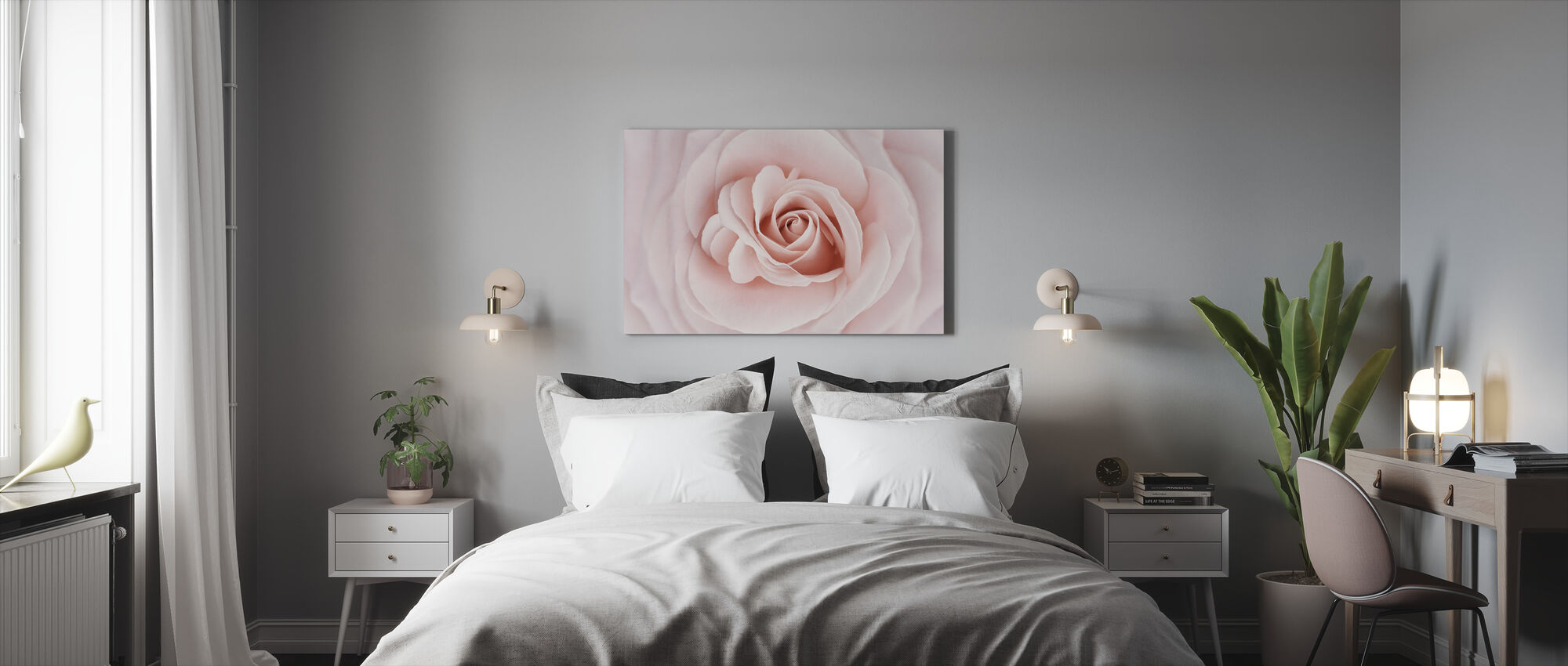 Soft Rose in Peach Pink Shades - Canvas print - Bedroom