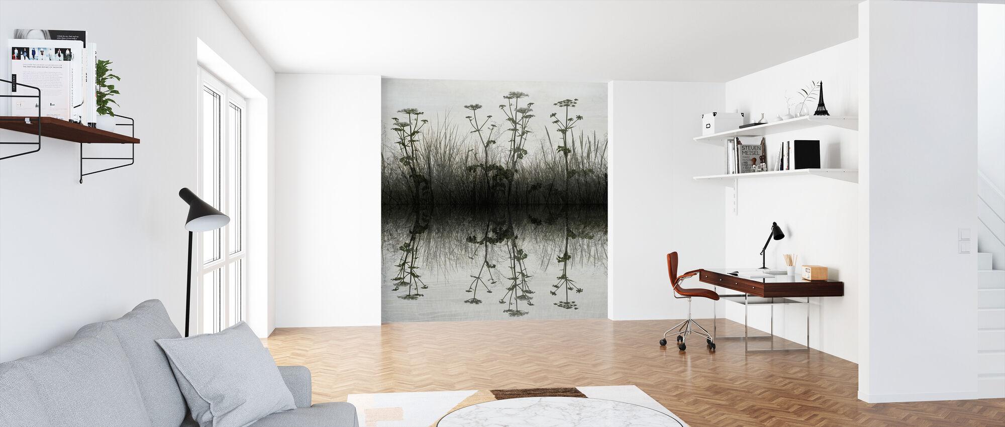 Blommig Vatten Reflektion - Tapet - Kontor