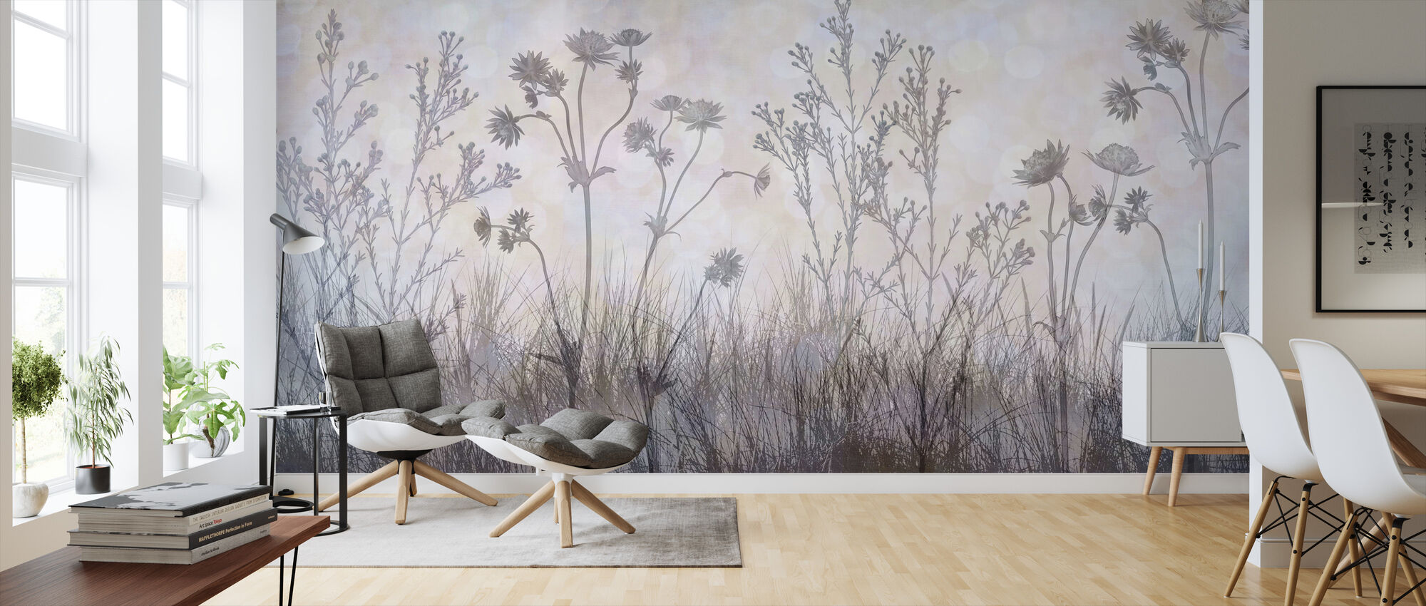Wildflowers Lining the Trail - Silver Lavender - Wallpaper - Living Room