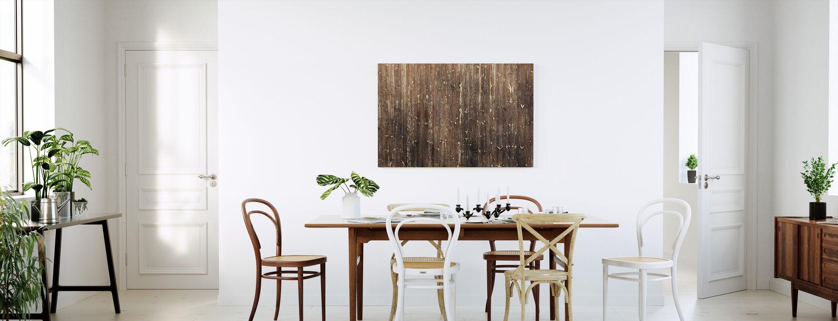 Ruskea puinen seinä - Canvastaulu - Keittiö