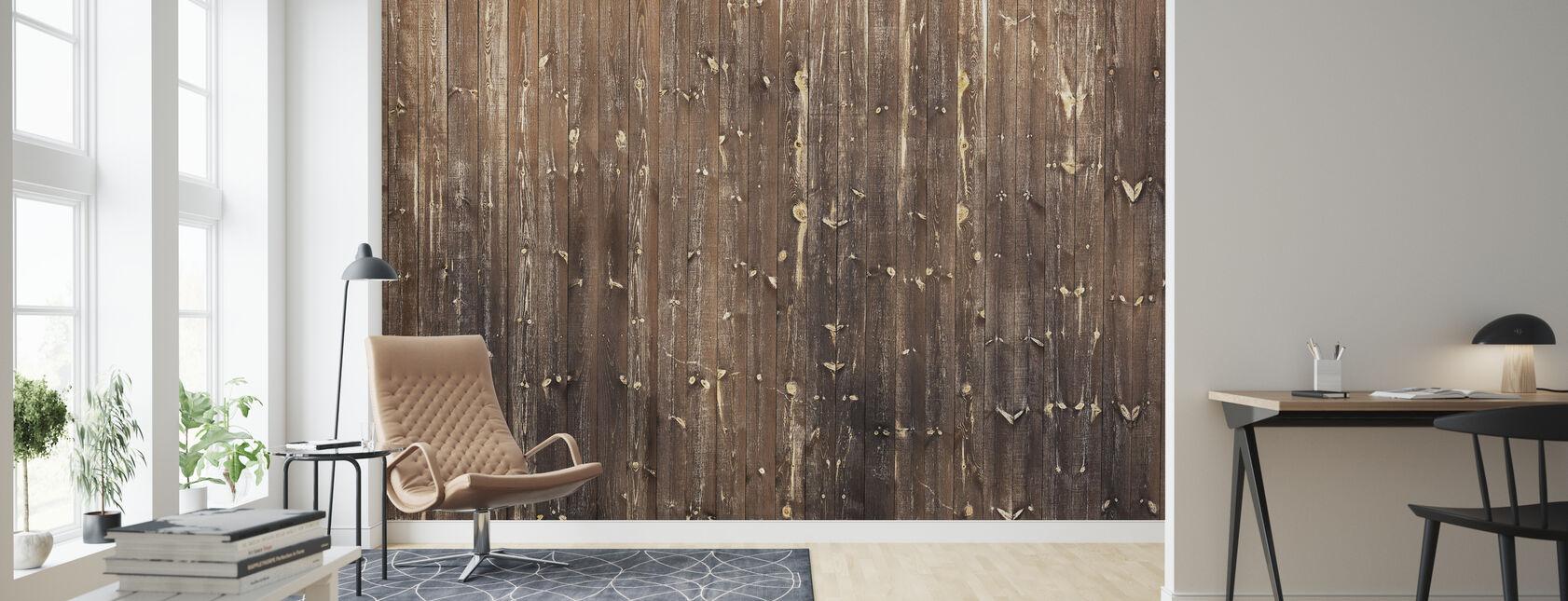 Brun træ væg - Tapet - Stue