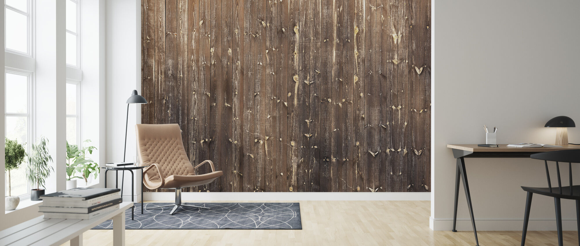 Brown Wooden Wall - Wallpaper - Living Room
