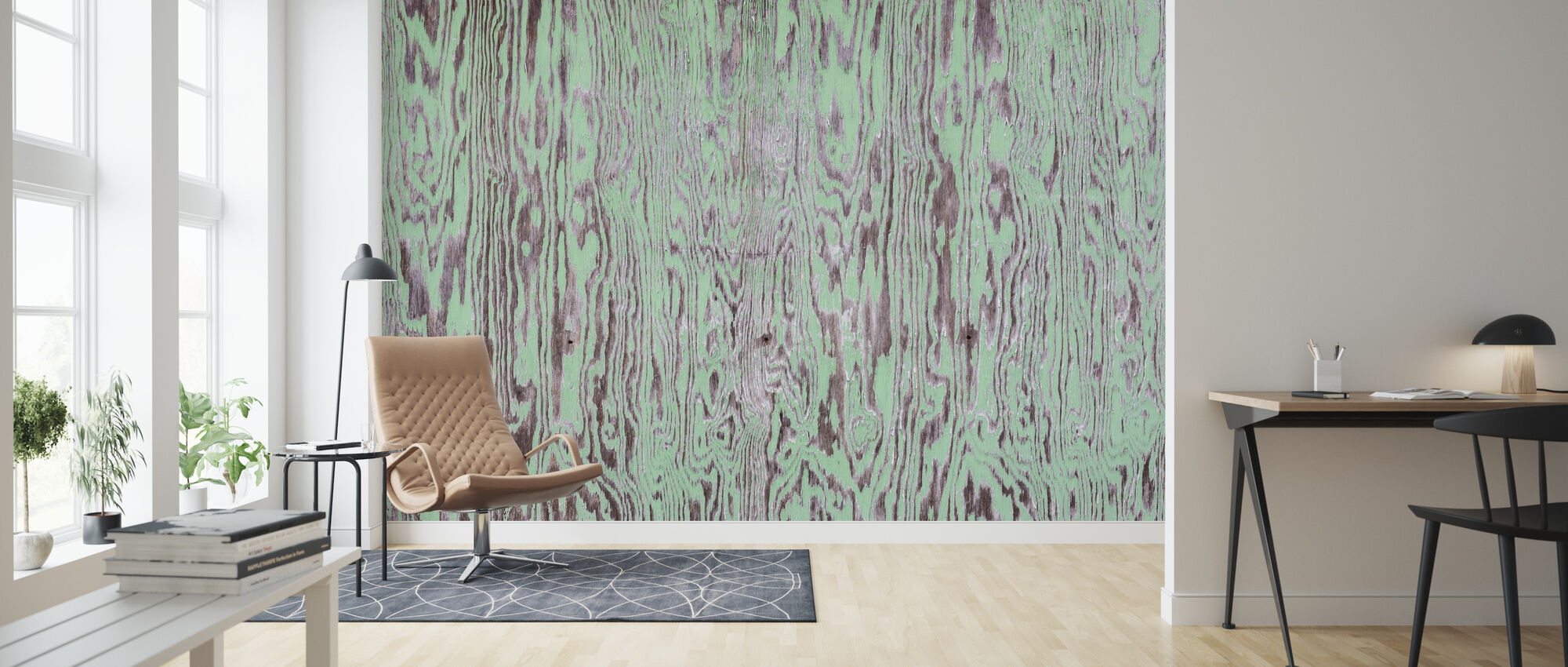 Green Painted Wooden Wall - Wallpaper - Living Room