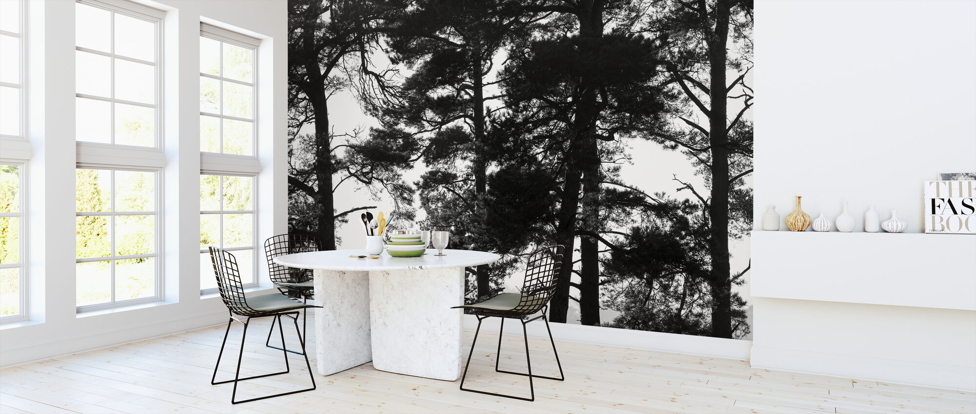 Pine Forest bw - Wallpaper - Kitchen