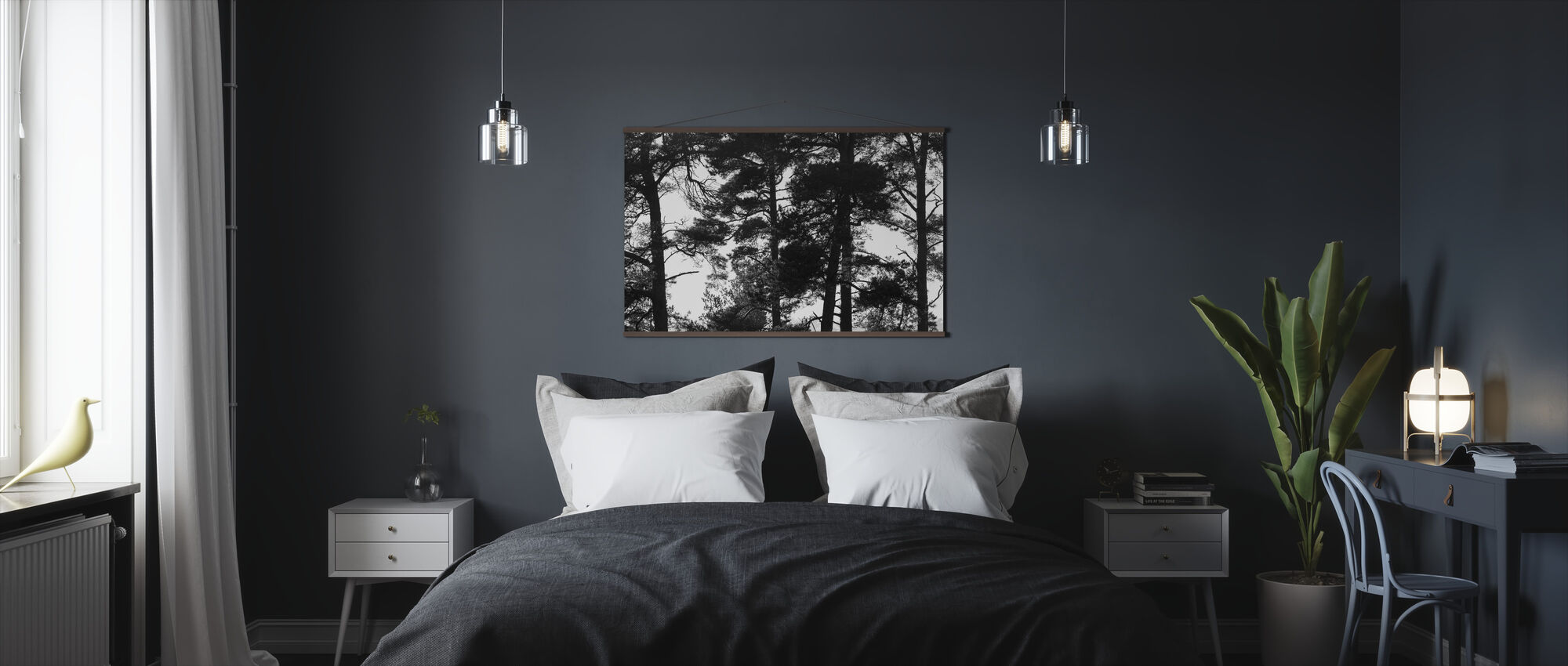 Pine Forest bw - Poster - Bedroom