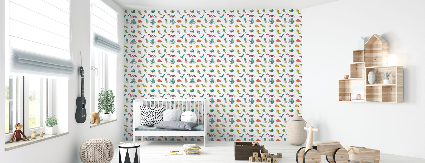 Sea Monsters color - Wallpaper - Nursery