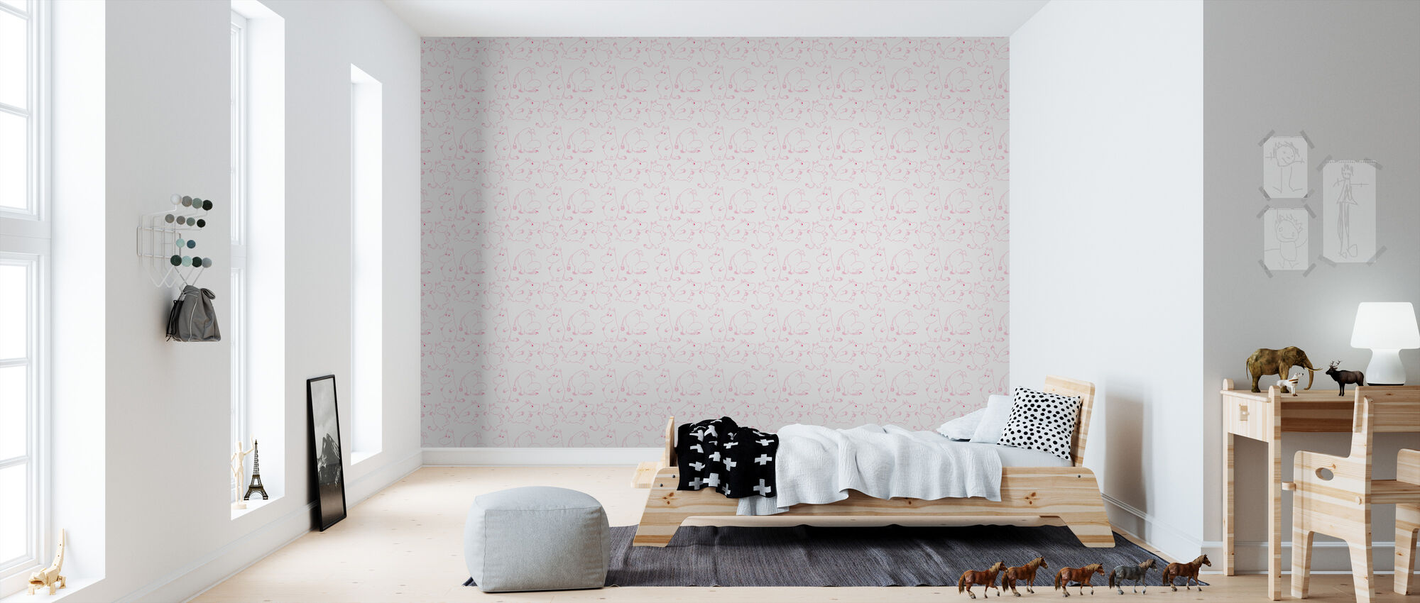 Moomin - Light Grey & Pink - Wallpaper - Kids Room