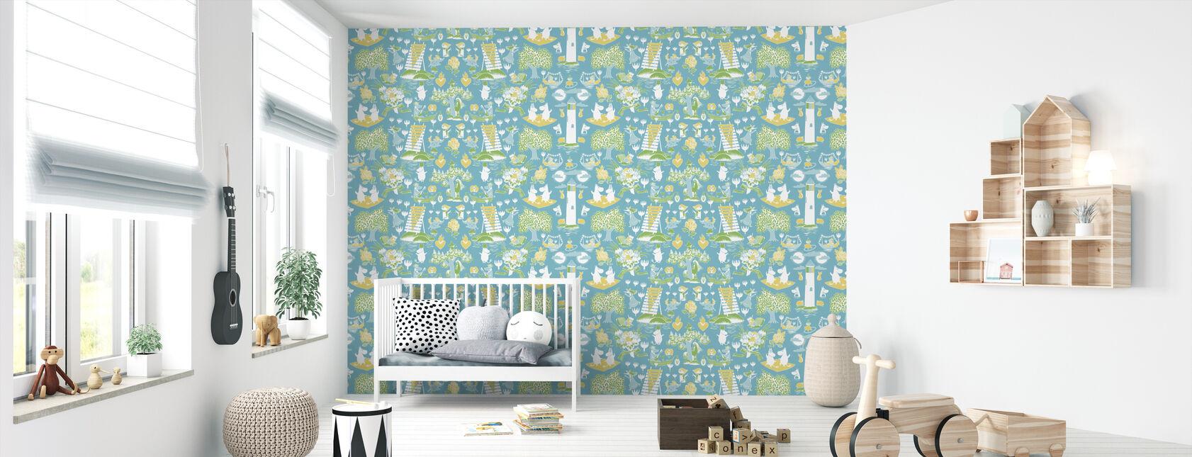 Moomin Retro Mønster - Blå & Grøn - Tapet - Babyværelse
