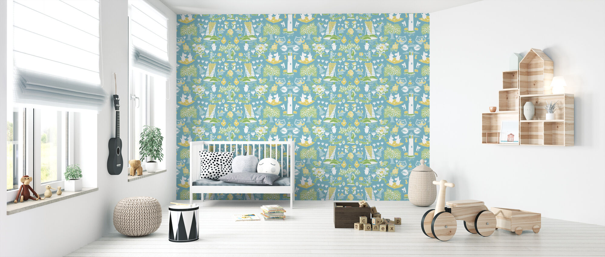 Moomin Retro Pattern - Blue & Green - Wallpaper - Nursery