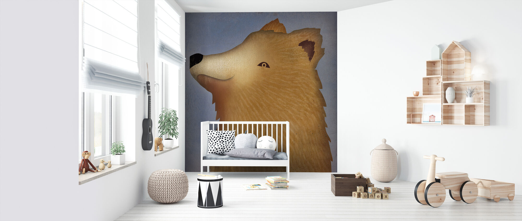 Brown Bear Wow - Wallpaper - Nursery