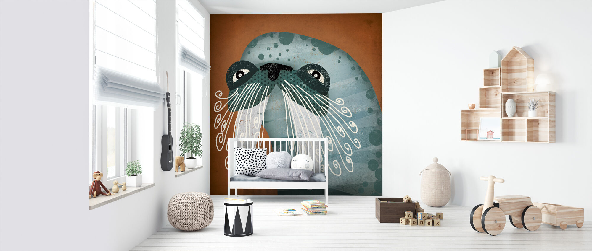 Walrus Wauw - Behang - Babykamer