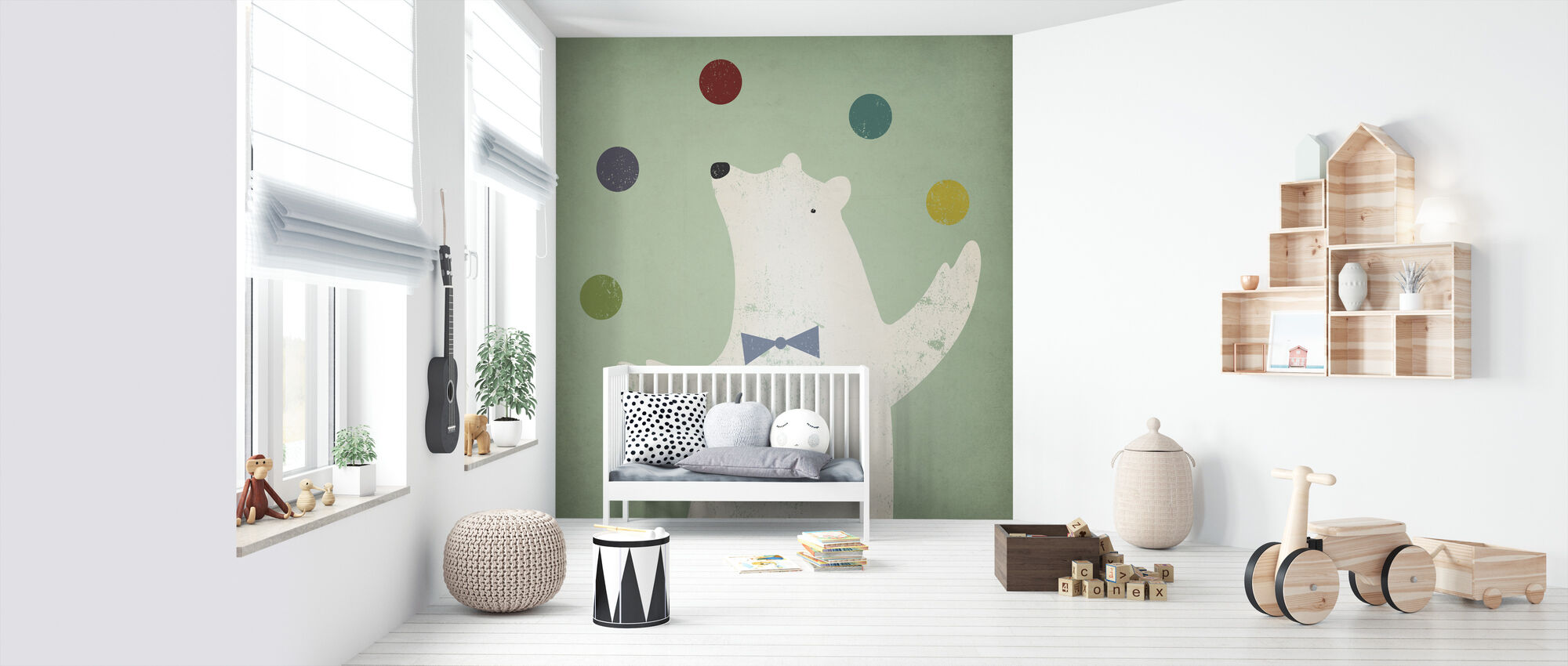 Circus Polar Bear - Wallpaper - Nursery