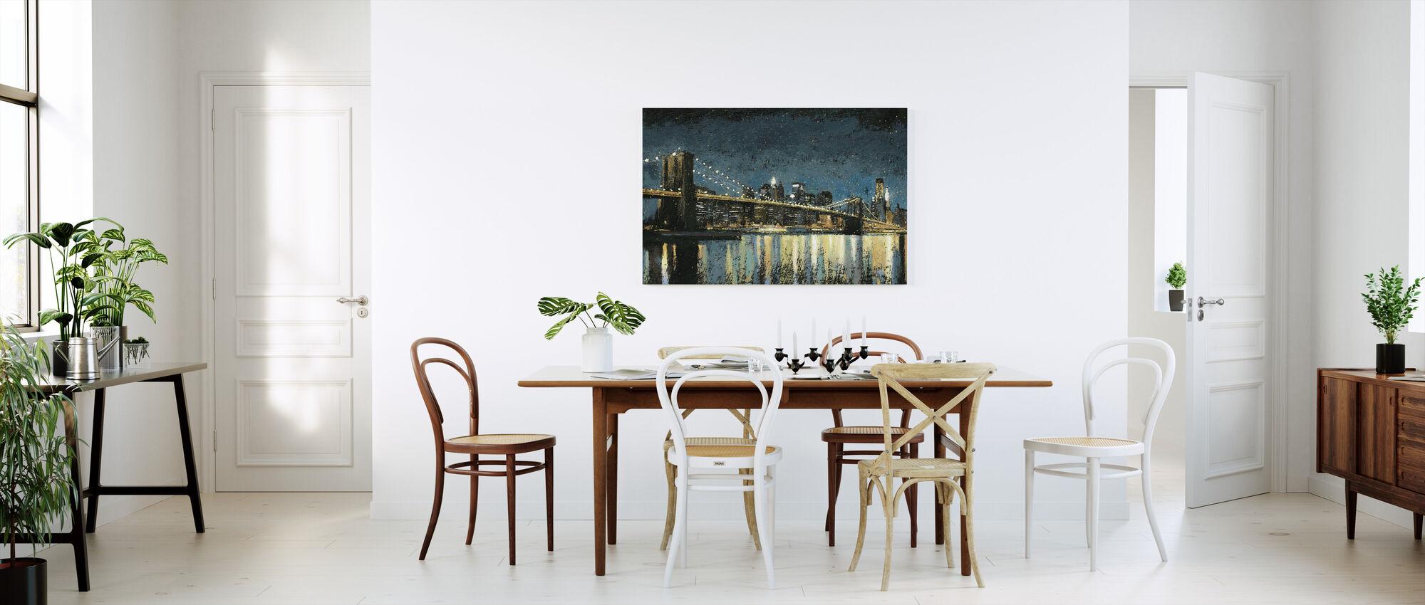 Bright City Lights Blauw - Canvas print - Keuken