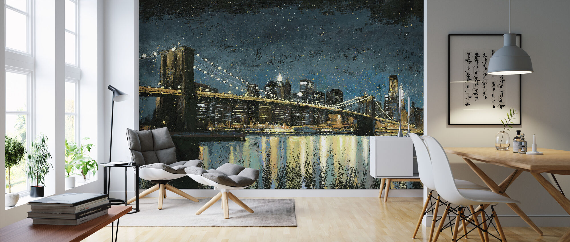 Bright City Lights Blauw - Behang - Woonkamer
