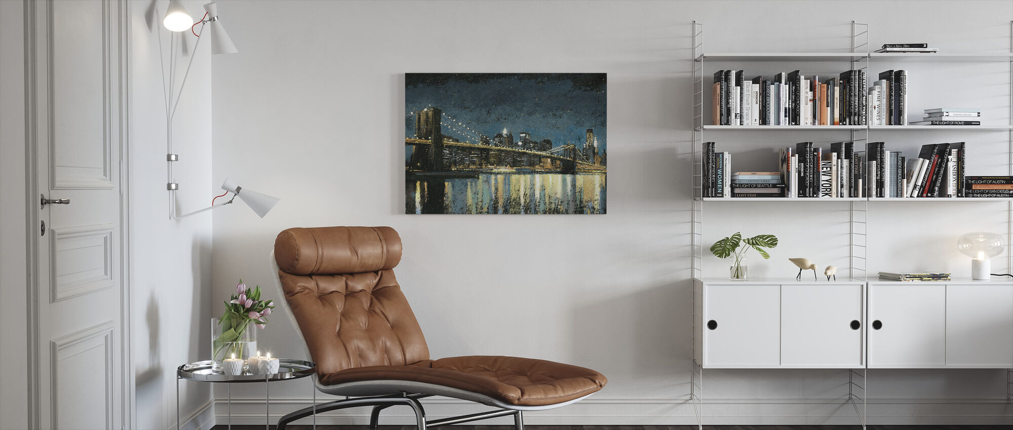 Bright City Lights Blue - Canvas print - Living Room