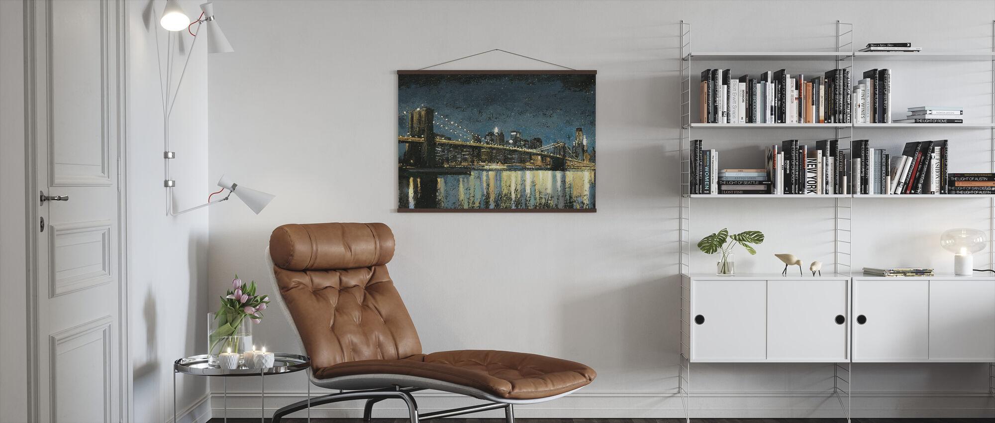Bright City Lights Blue - Poster - Living Room