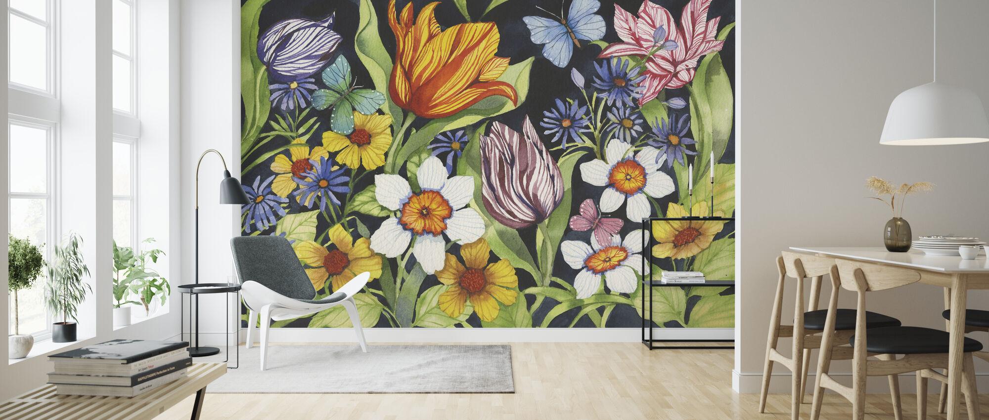 Kukka-Noir - Tapetti - Olohuone