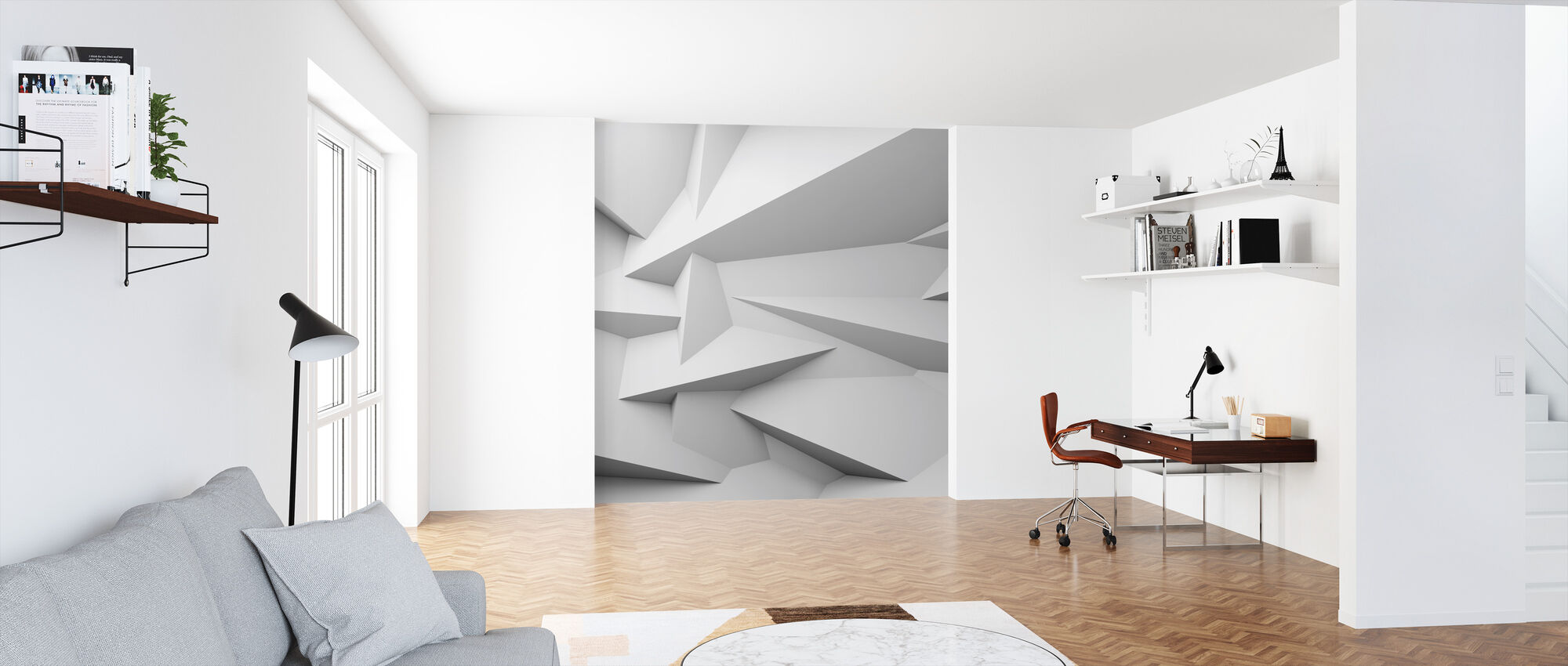 Facettierte 3D Wand - Tapete - Büro