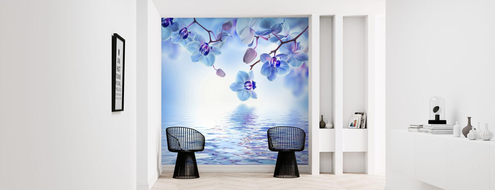 Tropisk blå Orkidé - Tapet - Hall
