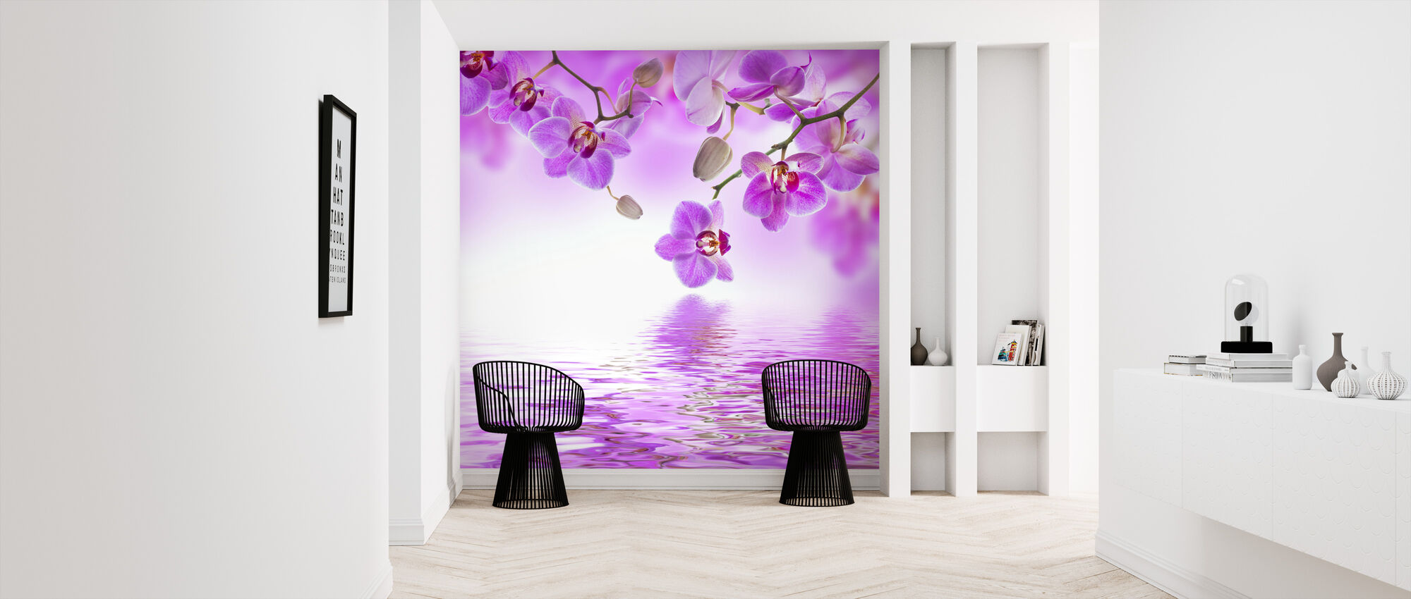 Tropische paarse orchidee - Behang - Gang