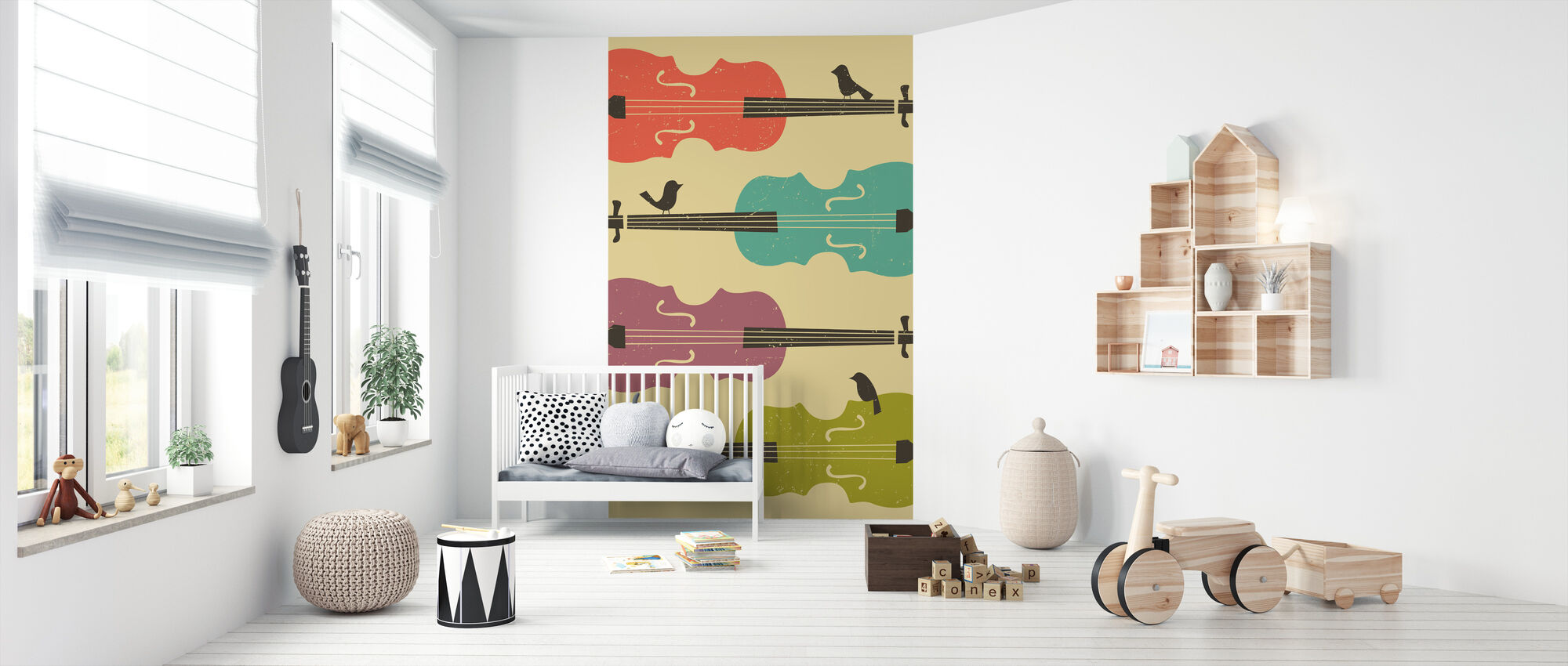 Birds on a Cello String - Wallpaper - Nursery