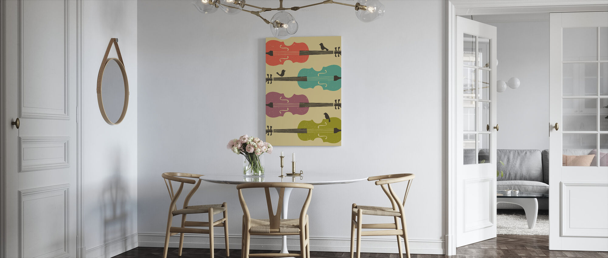 Birds on a Cello String - Canvas print - Kitchen