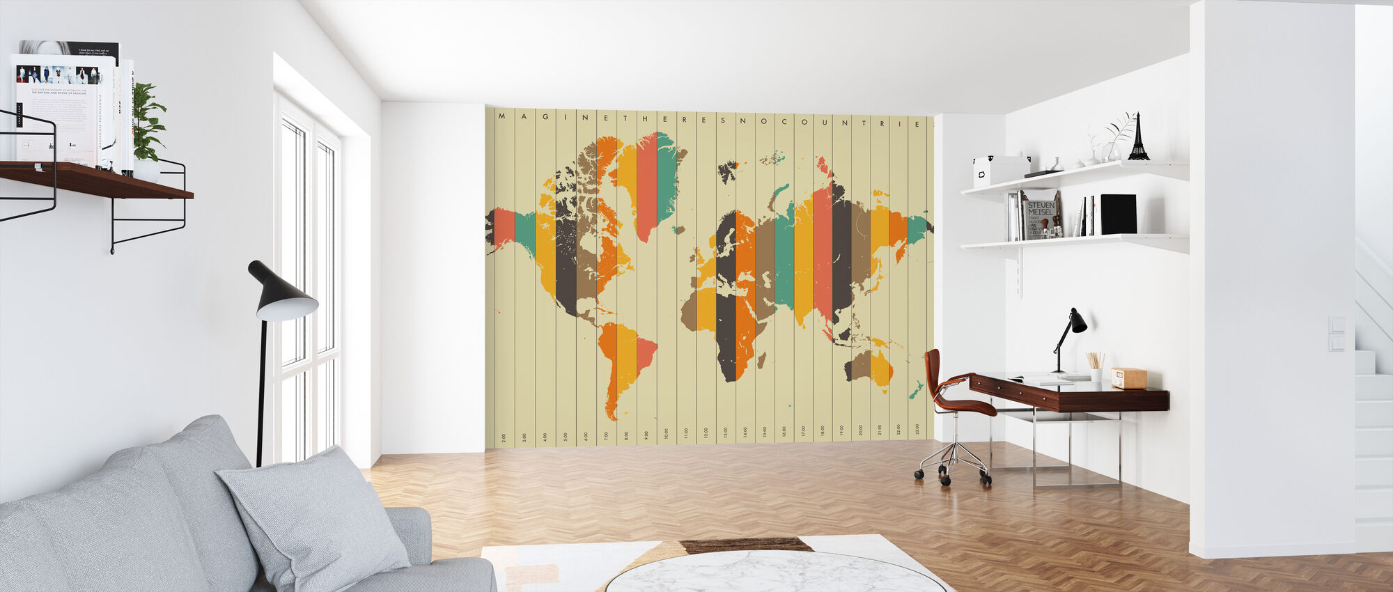 Imagine Theres No Countries - Beige - Wallpaper - Office