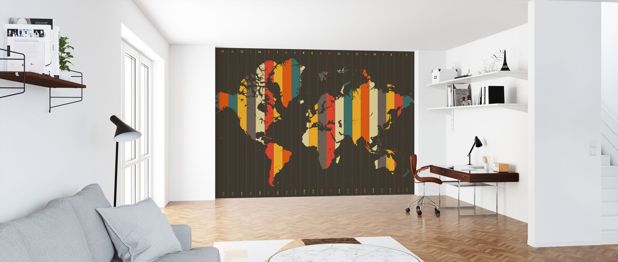 Imagine Theres No Countries - Brown - Wallpaper - Office