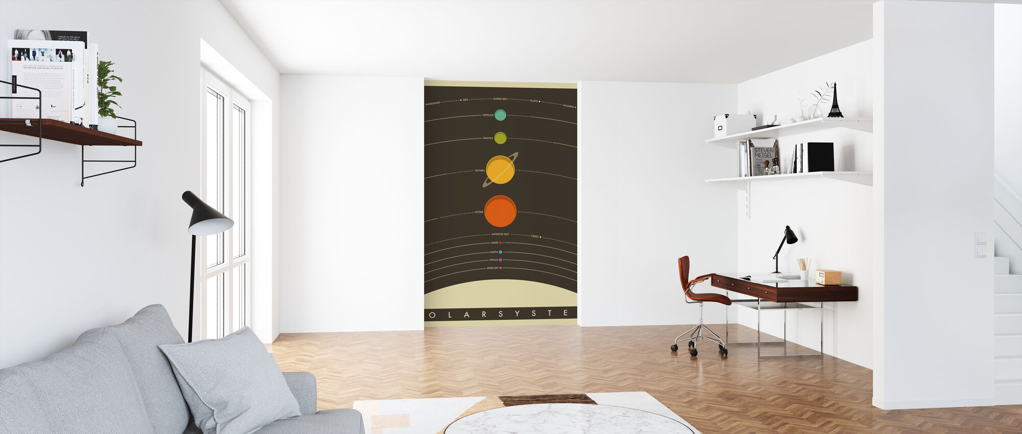 Solar System - Brown - Wallpaper - Office