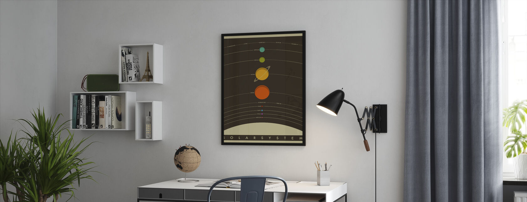 Solar System - Brown - Framed print - Office